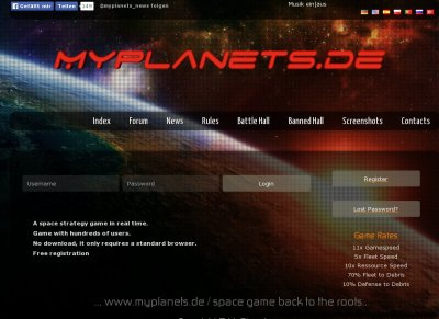 Ogame-Private-Server-List - Stats - MyPlanets de - ein